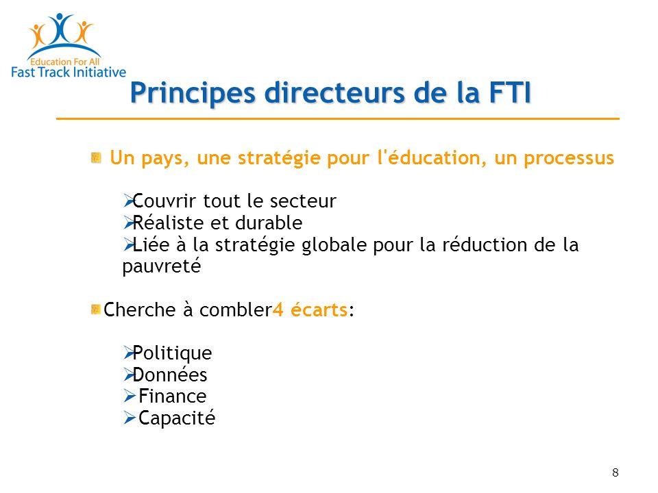 19 Directives pour l évaluation FTI La FTI a créé un outil, les Directives pour l évaluation, pour aider les partenaires au développement à évaluer le secteur de l enseignement primaire d un programme du secteur éducatif But: Encourager le dialogue sur les choix/mesures d efficacité pour questions politiques clés y compris: Bonne base de connaissances Stratégie pour atteindre l objectif OMD/EFA, y compris sensibilité au VIH/SIDA et à l équité entre les sexes Appropriation par toutes les parties prenantes Capacité d absorption et durabilité financière