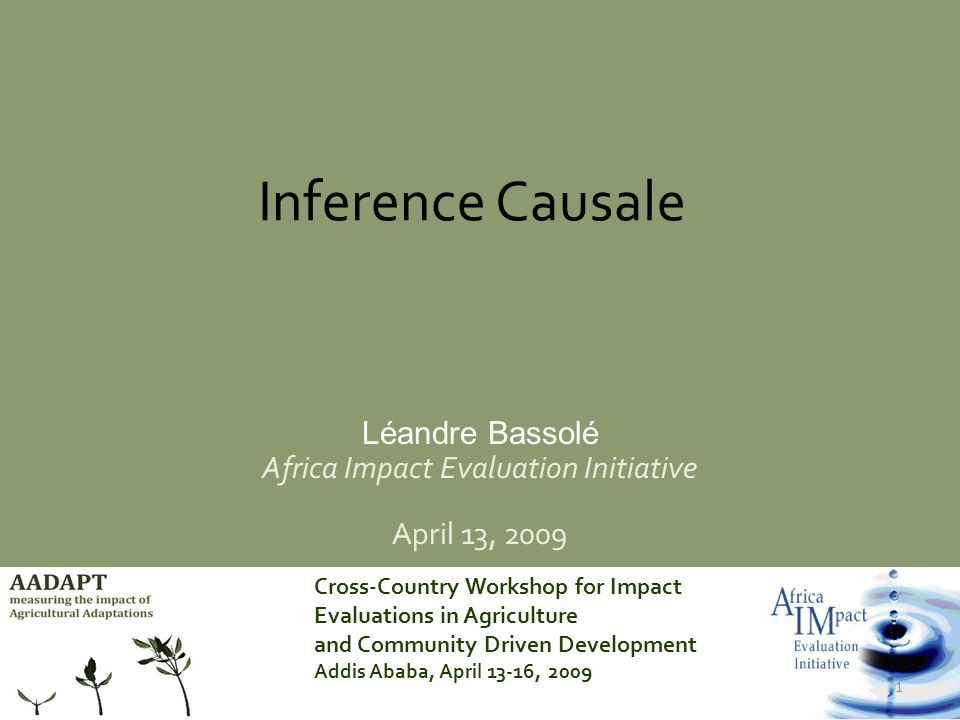 Cross-Country Workshop for Impact Evaluations in Agriculture and Community Driven Development Addis Ababa, April 13-16, 2009 2 Motivation Inférence Causale: Existe-il une relation entre la cause et leffet .