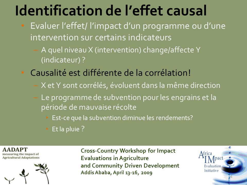 Cross-Country Workshop for Impact Evaluations in Agriculture and Community Driven Development Addis Ababa, April 13-16, 2009 4 Evaluer leffet/ limpact dun programme ou dune intervention sur certains indicateurs – A quel niveau X (intervention) change/affecte Y (indicateur) .