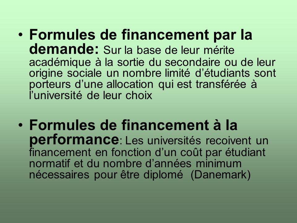 Formules de financement par la demande: Sur la base de leur mérite académique à la sortie du secondaire ou de leur origine sociale un nombre limité dé