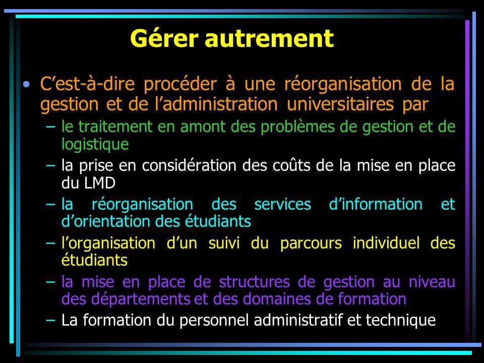 Gérer autrement Cest-à-dire procéder à une réorganisation de la gestion et de ladministration universitaires par –le traitement en amont des problèmes