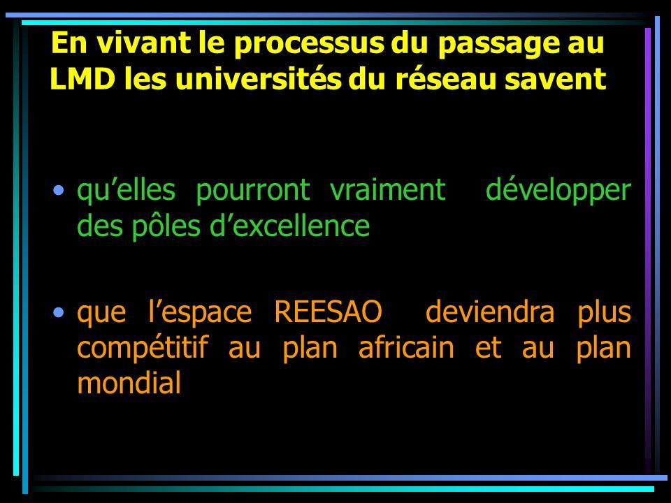 En vivant le processus du passage au LMD les universités du réseau savent quelles pourront vraiment développer des pôles dexcellence que lespace REESA
