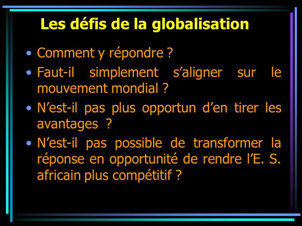 Les défis de la globalisation Comment y répondre ? Faut-il simplement saligner sur le mouvement mondial ? Nest-il pas plus opportun den tirer les avan