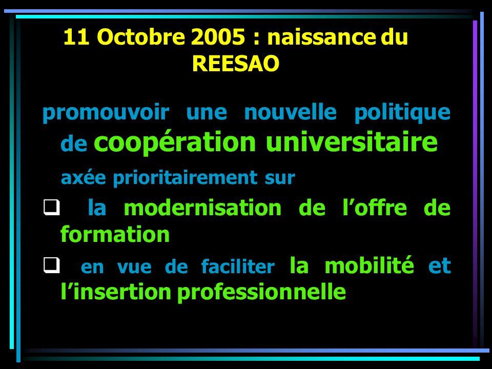 11 Octobre 2005 : naissance du REESAO promouvoir une nouvelle politique de coopération universitaire axée prioritairement sur la modernisation de loff