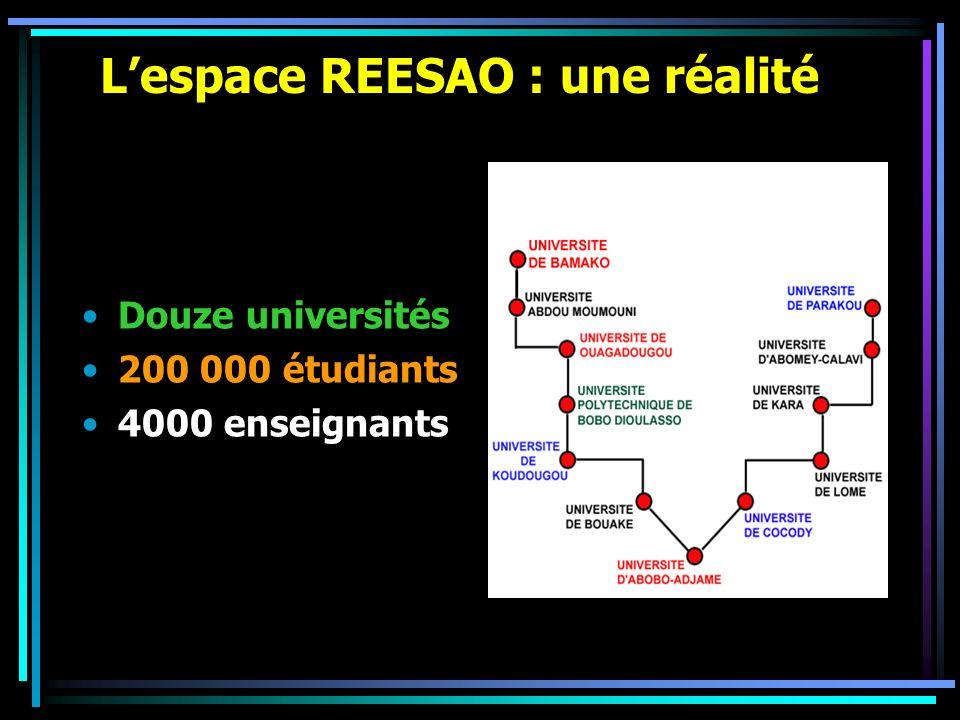 Lespace REESAO: axes de croissance Mise en place de bases pédagogiques communes Aménagement dun environnement technologique approprié Développement dun environnement sociopolitique favorable