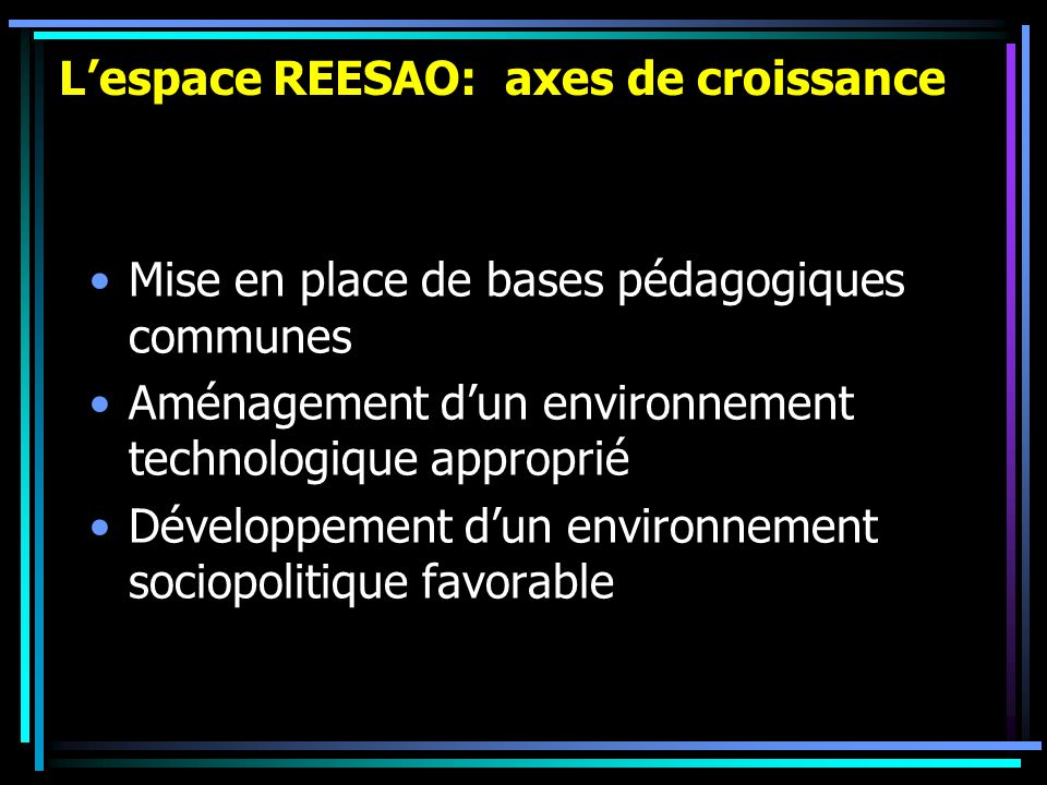 Lespace REESAO: axes de croissance Mise en place de bases pédagogiques communes Aménagement dun environnement technologique approprié Développement du