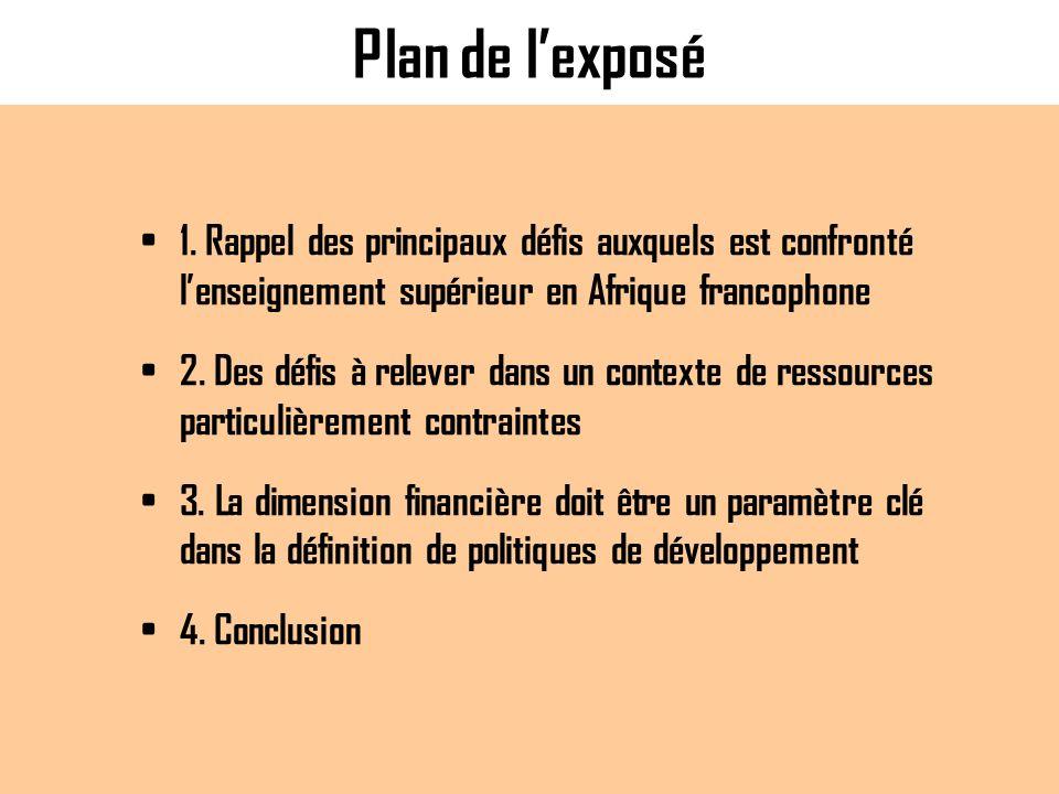 Plan de lexposé 1. Rappel des principaux défis auxquels est confronté lenseignement supérieur en Afrique francophone 2. Des défis à relever dans un co