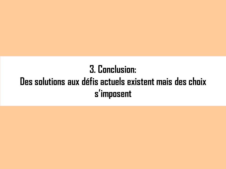 3. Conclusion: Des solutions aux défis actuels existent mais des choix simposent