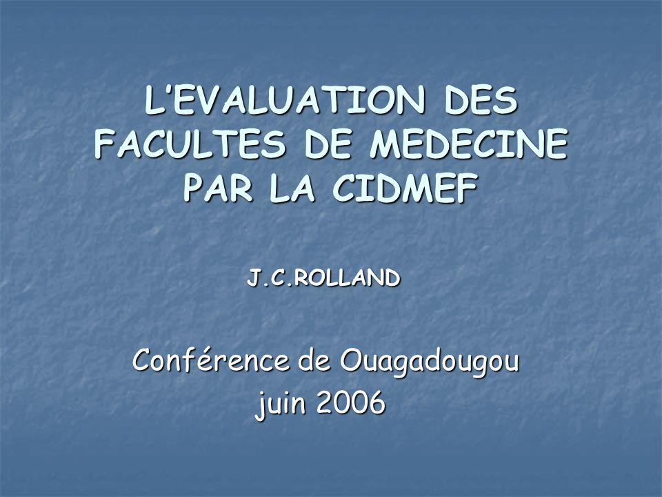 LEVALUATION DES FACULTES DE MEDECINE PAR LA CIDMEF J.C.ROLLAND J.C.ROLLAND Conférence de Ouagadougou Conférence de Ouagadougou juin 2006 juin 2006