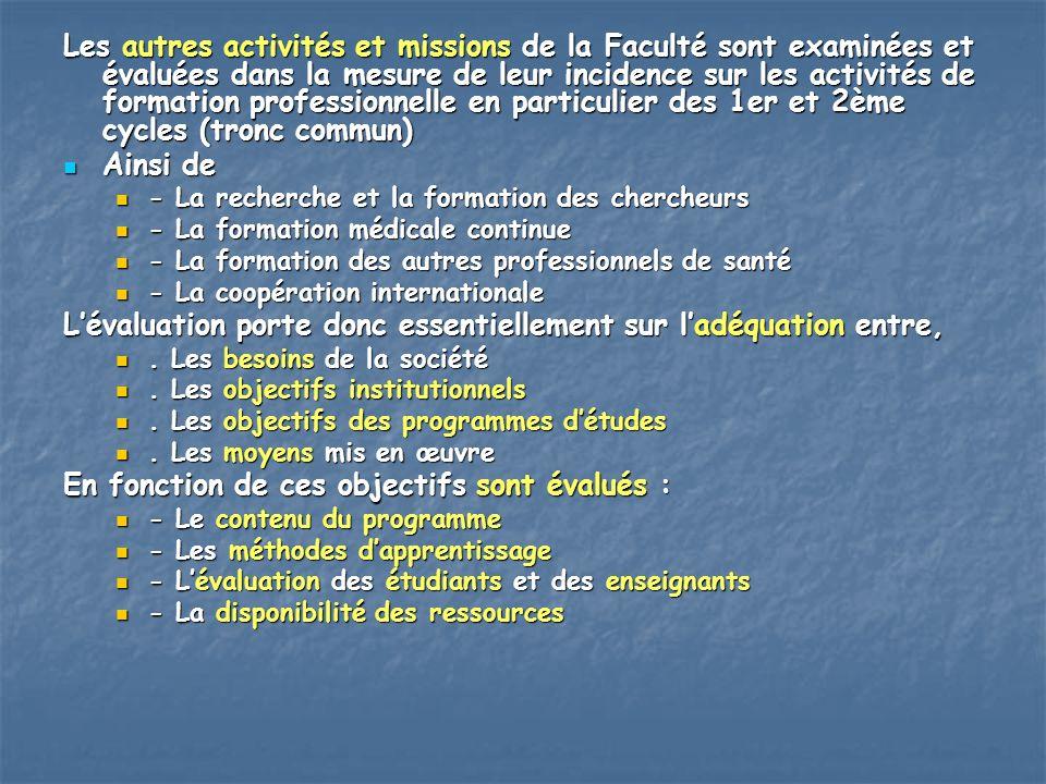 Les autres activités et missions de la Faculté sont examinées et évaluées dans la mesure de leur incidence sur les activités de formation professionne
