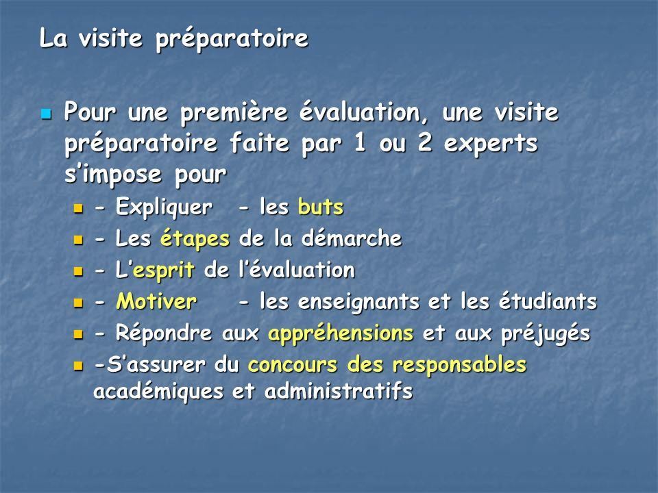 La visite préparatoire Pour une première évaluation, une visite préparatoire faite par 1 ou 2 experts simpose pour Pour une première évaluation, une v