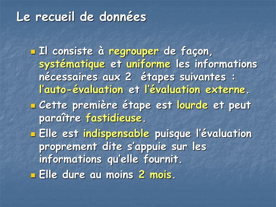 Le recueil de données Il consiste à regrouper de façon, systématique et uniforme les informations nécessaires aux 2 étapes suivantes : lauto-évaluatio