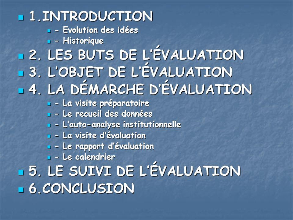 1.INTRODUCTION 1.INTRODUCTION - Evolution des idées - Evolution des idées - Historique - Historique 2. LES BUTS DE LÉVALUATION 2. LES BUTS DE LÉVALUAT