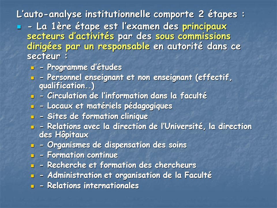 Lauto-analyse institutionnelle comporte 2 étapes : - La 1ère étape est lexamen des principaux secteurs dactivités par des sous commissions dirigées pa
