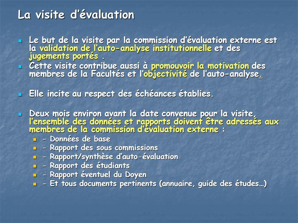 La visite dévaluation Le but de la visite par la commission dévaluation externe est la validation de lauto-analyse institutionnelle et des jugements p