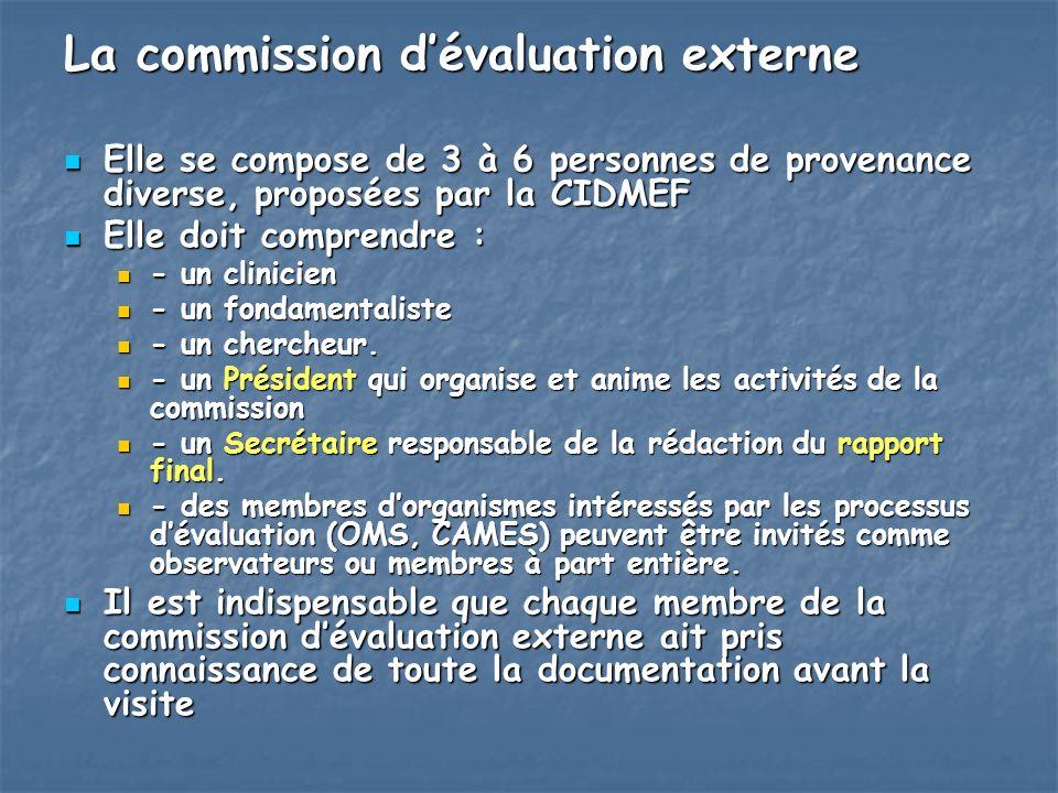 La commission dévaluation externe Elle se compose de 3 à 6 personnes de provenance diverse, proposées par la CIDMEF Elle se compose de 3 à 6 personnes