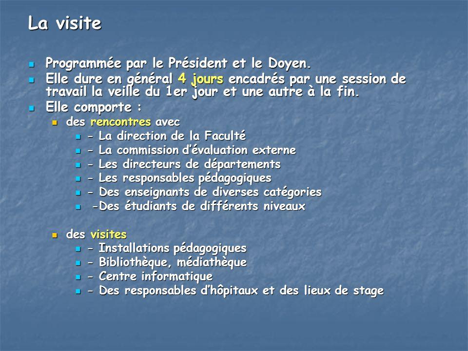 La visite Programmée par le Président et le Doyen. Programmée par le Président et le Doyen. Elle dure en général 4 jours encadrés par une session de t