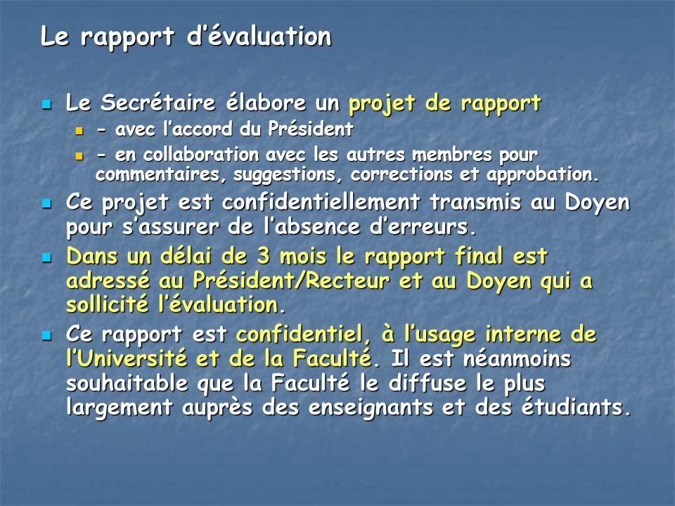 Le rapport dévaluation Le Secrétaire élabore un projet de rapport Le Secrétaire élabore un projet de rapport - avec laccord du Président - avec laccor