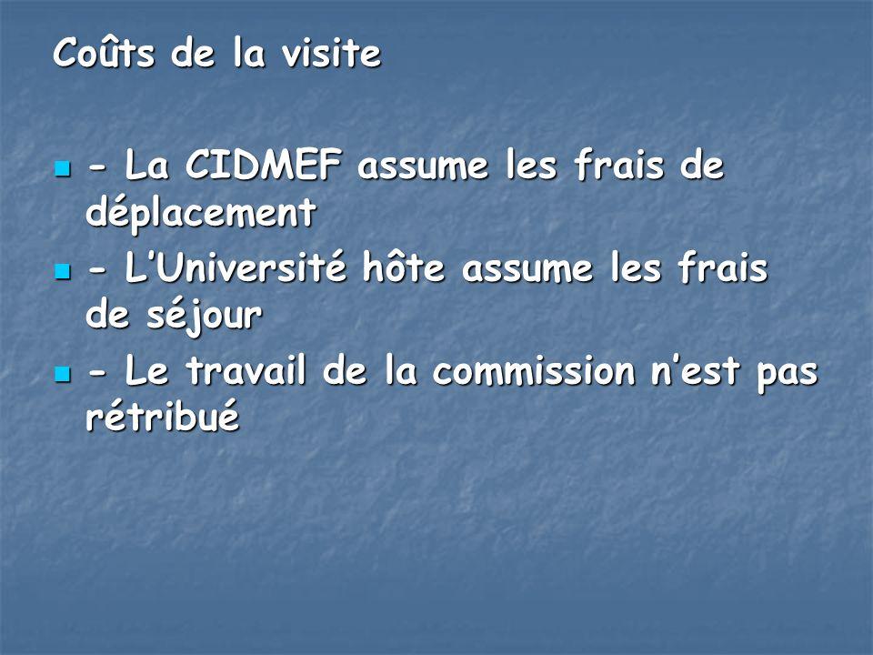 Coûts de la visite - La CIDMEF assume les frais de déplacement - La CIDMEF assume les frais de déplacement - LUniversité hôte assume les frais de séjo