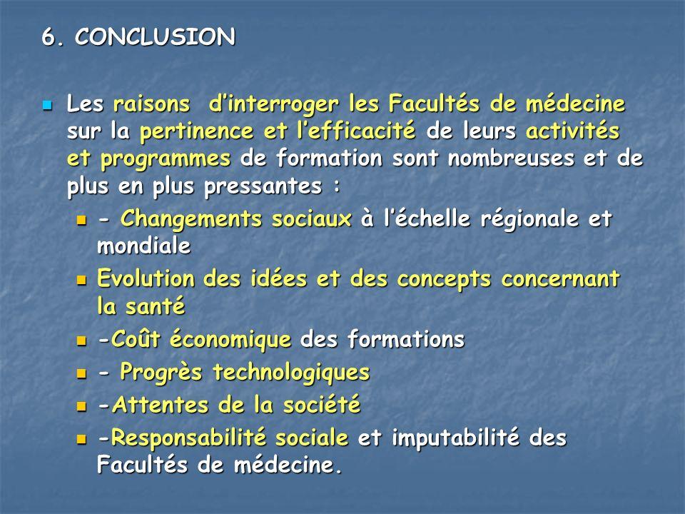 6. CONCLUSION Les raisons dinterroger les Facultés de médecine sur la pertinence et lefficacité de leurs activités et programmes de formation sont nom