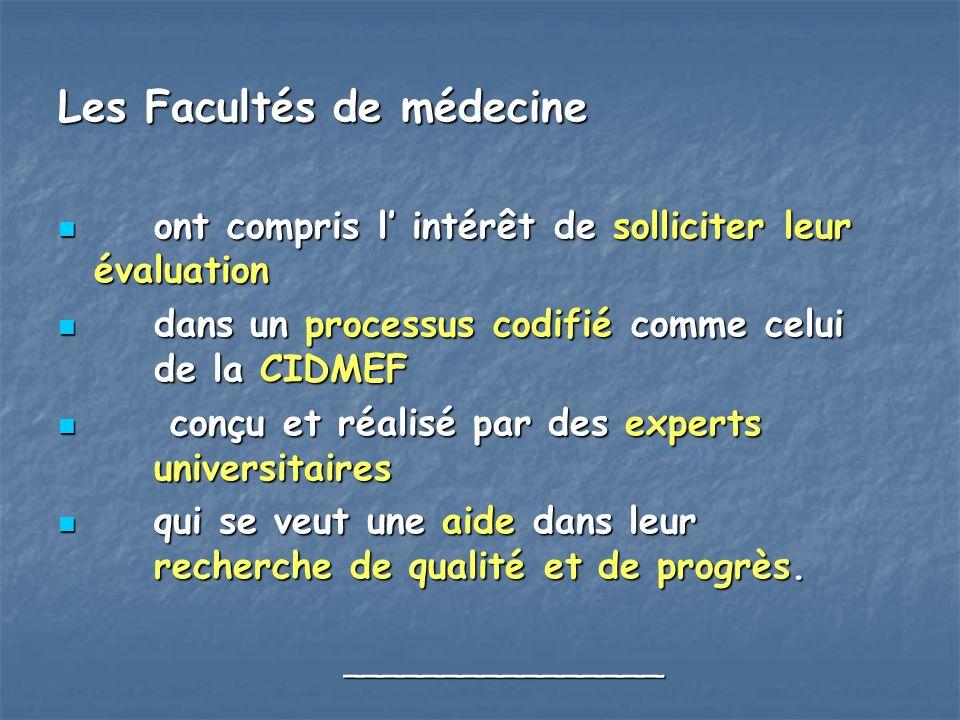 Les Facultés de médecine ont compris l intérêt de solliciter leur évaluation ont compris l intérêt de solliciter leur évaluation dans un processus cod