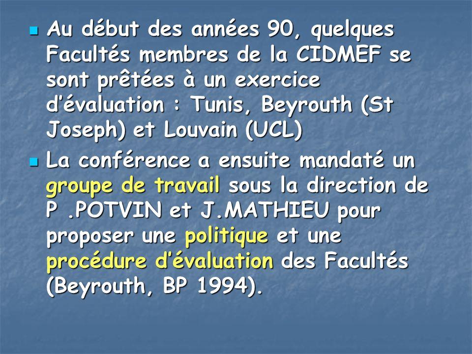 Au début des années 90, quelques Facultés membres de la CIDMEF se sont prêtées à un exercice dévaluation : Tunis, Beyrouth (St Joseph) et Louvain (UCL