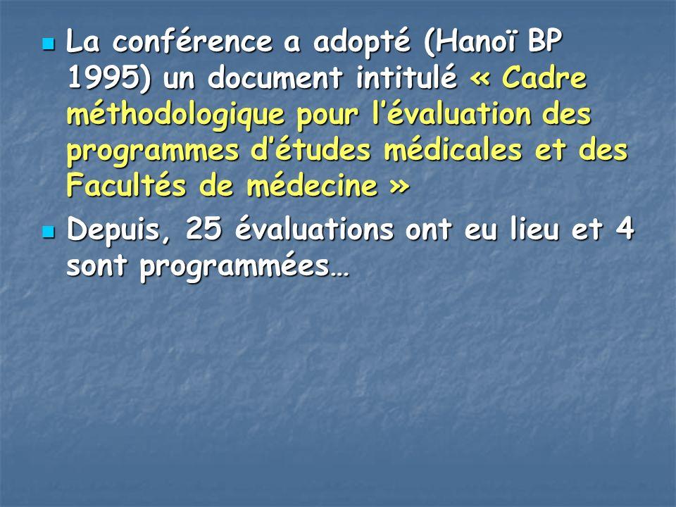 La conférence a adopté (Hanoï BP 1995) un document intitulé « Cadre méthodologique pour lévaluation des programmes détudes médicales et des Facultés d