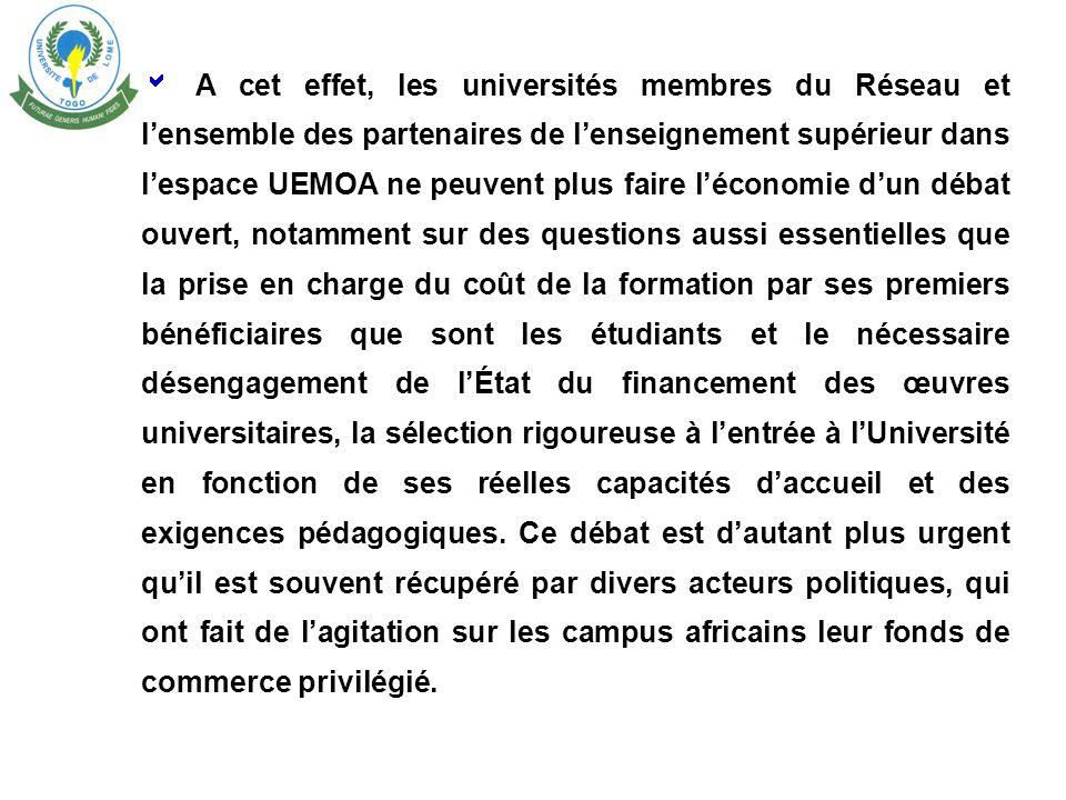 Les mesures mises œuvre ne produiront cependant leur plein effet que dans le renforcement de ce partenariat, que lUniversité de Lomé souhaite voir dev