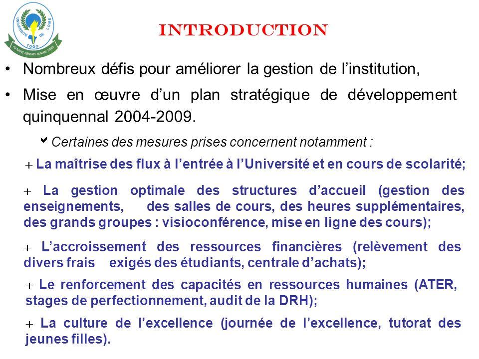 Nombreux défis pour améliorer la gestion de linstitution, Mise en œuvre dun plan stratégique de développement quinquennal 2004-2009.