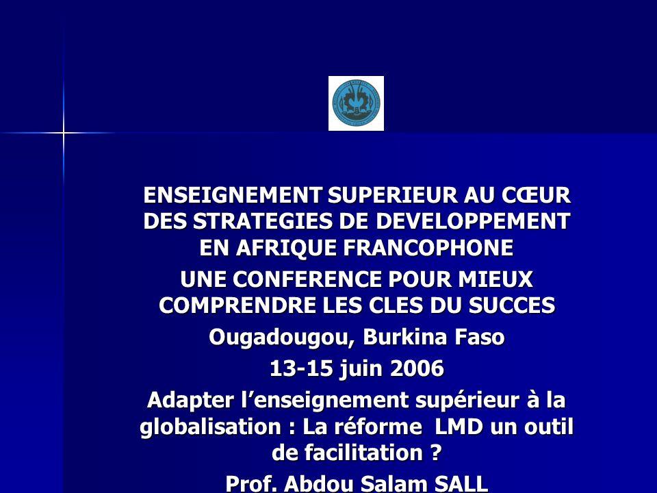 ENSEIGNEMENT SUPERIEUR AU CŒUR DES STRATEGIES DE DEVELOPPEMENT EN AFRIQUE FRANCOPHONE UNE CONFERENCE POUR MIEUX COMPRENDRE LES CLES DU SUCCES Ougadoug