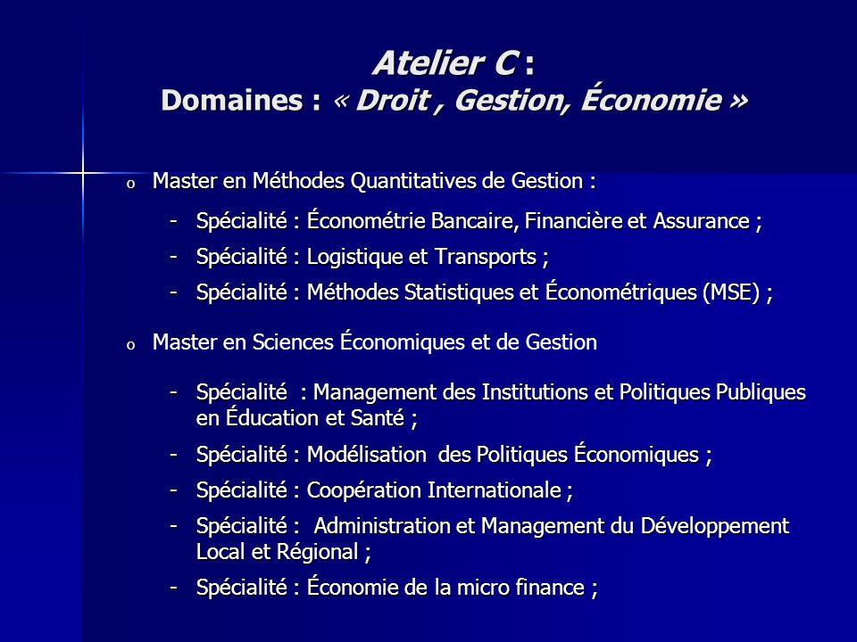 o Master en Méthodes Quantitatives de Gestion : -Spécialité : Économétrie Bancaire, Financière et Assurance ; -Spécialité : Logistique et Transports ;
