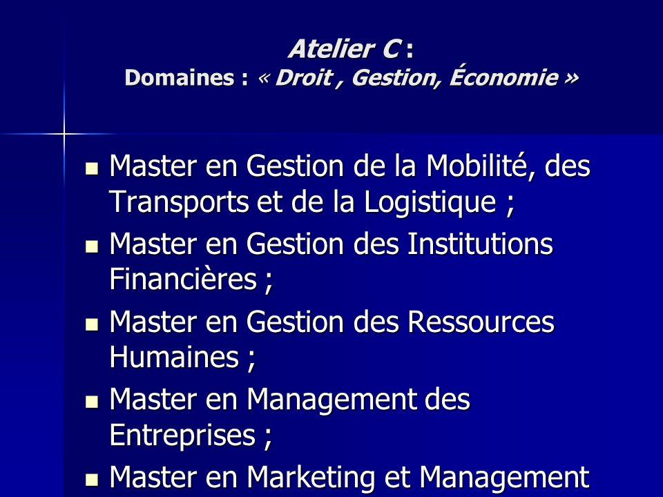 Master en Gestion de la Mobilité, des Transports et de la Logistique ; Master en Gestion de la Mobilité, des Transports et de la Logistique ; Master e