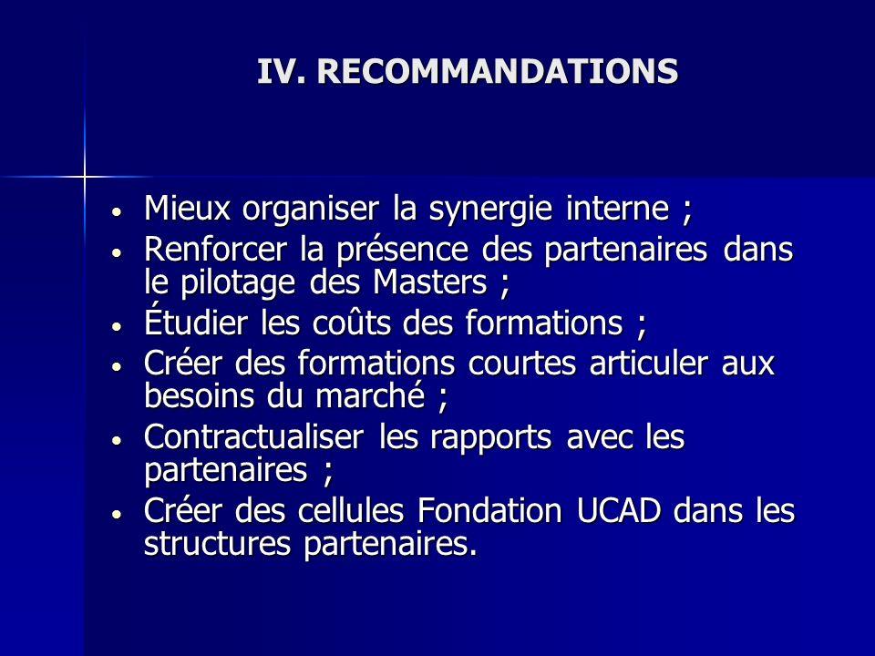 IV.RECOMMANDATIONS Mieux organiser la synergie interne ; Mieux organiser la synergie interne ; Renforcer la présence des partenaires dans le pilotage