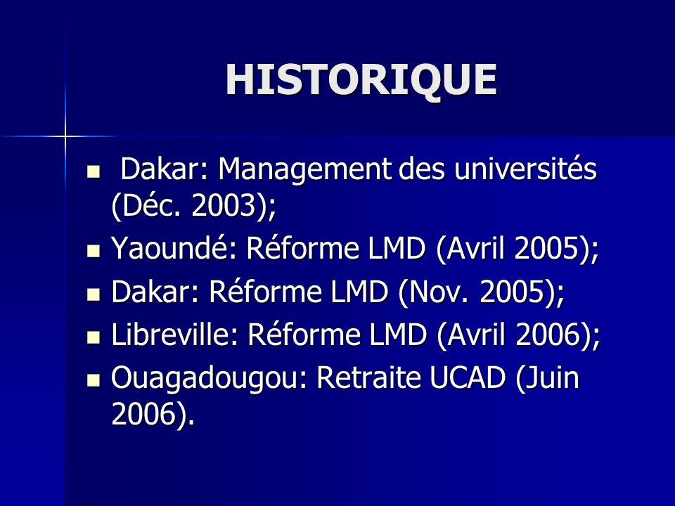 HISTORIQUE Dakar: Management des universités (Déc. 2003); Dakar: Management des universités (Déc. 2003); Yaoundé: Réforme LMD (Avril 2005); Yaoundé: R