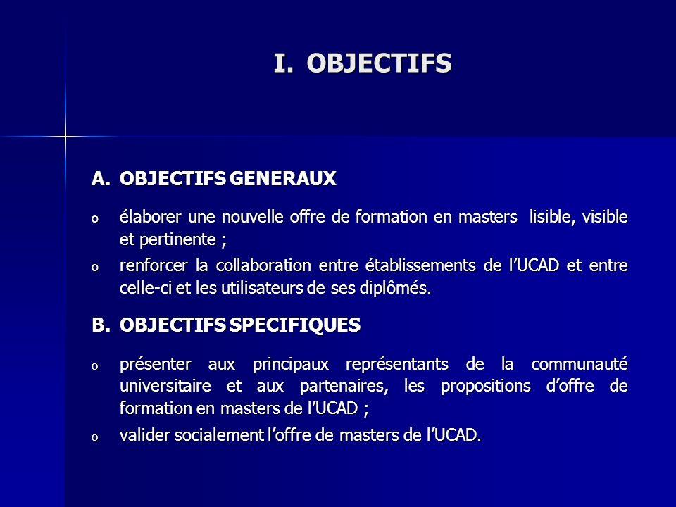 I.OBJECTIFS A.OBJECTIFS GENERAUX o élaborer une nouvelle offre de formation en masters lisible, visible et pertinente ; o renforcer la collaboration e