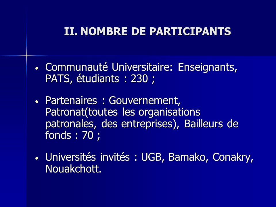 II.NOMBRE DE PARTICIPANTS Communauté Universitaire: Enseignants, PATS, étudiants : 230 ; Communauté Universitaire: Enseignants, PATS, étudiants : 230
