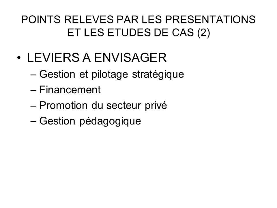 POINTS RELEVES PAR LES PRESENTATIONS ET LES ETUDES DE CAS (2) LEVIERS A ENVISAGER –Gestion et pilotage stratégique –Financement –Promotion du secteur