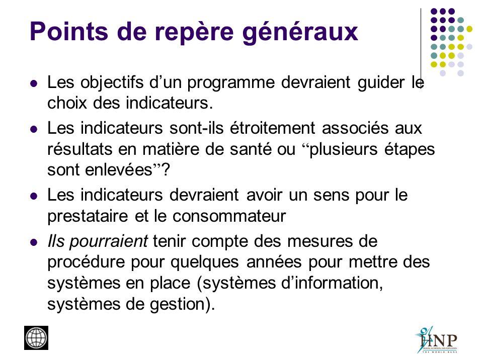 Points de repère généraux Les objectifs dun programme devraient guider le choix des indicateurs. Les indicateurs sont-ils étroitement associés aux rés