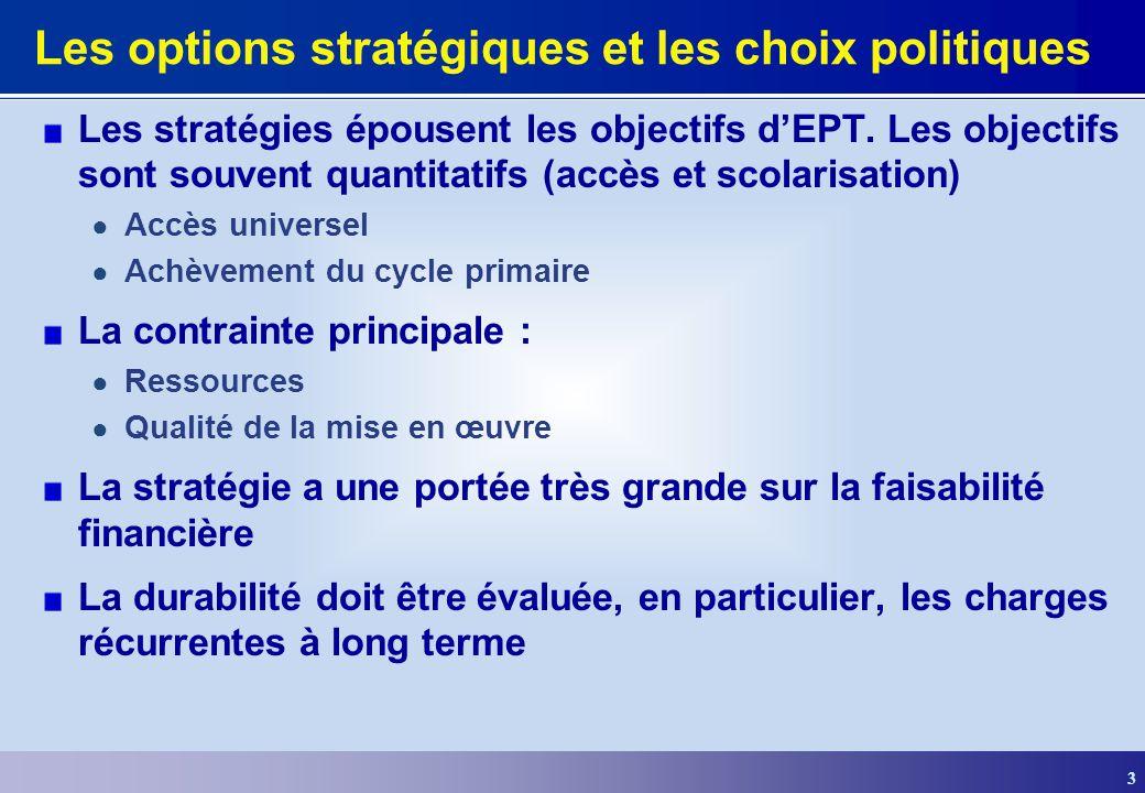 3 Les options stratégiques et les choix politiques Les stratégies épousent les objectifs dEPT. Les objectifs sont souvent quantitatifs (accès et scola