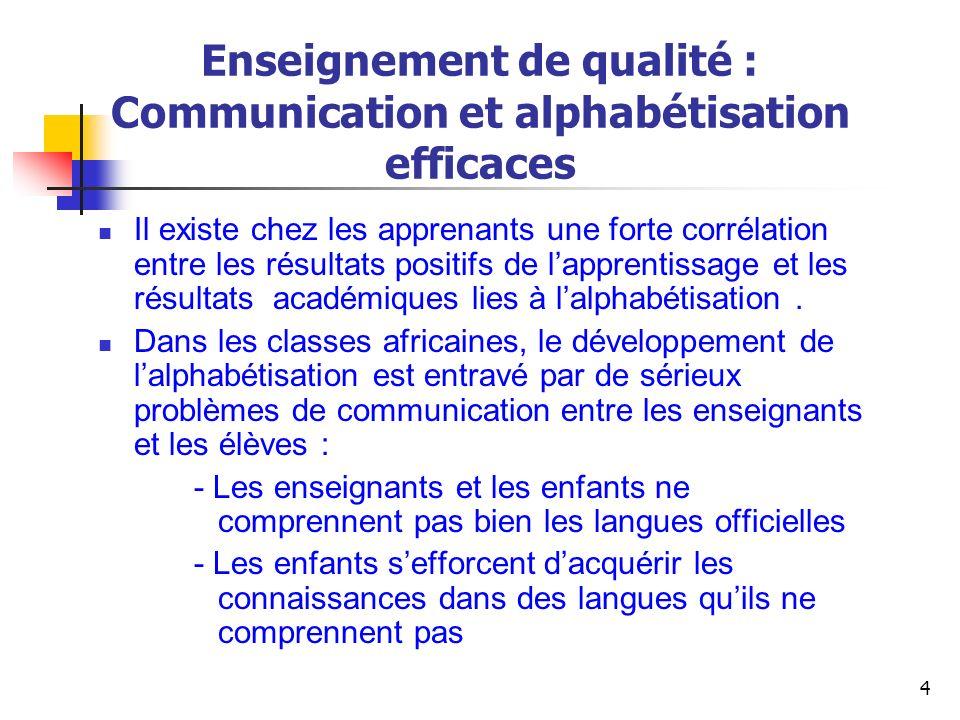 25 Usage des langues africaines pour promouvoir un enseignement de qualité : Quest-ce que cela implique.