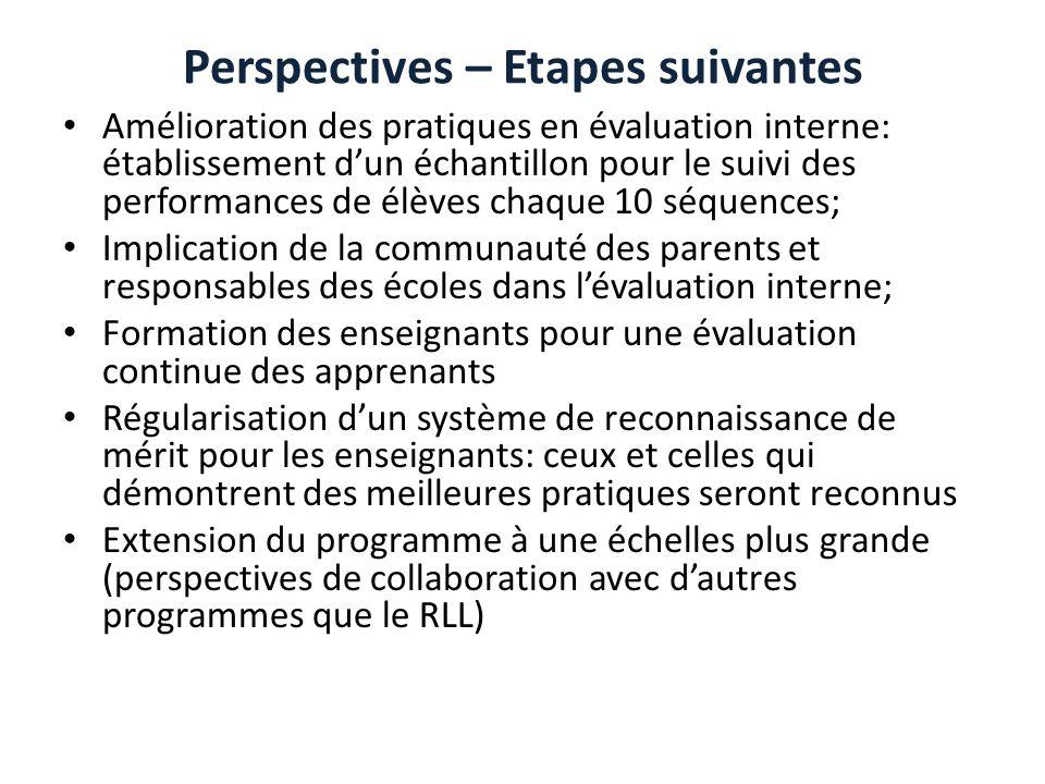 Perspectives – Etapes suivantes Amélioration des pratiques en évaluation interne: établissement dun échantillon pour le suivi des performances de élèv