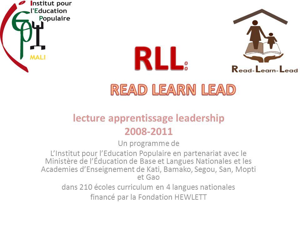lecture apprentissage leadership 2008-2011 Un programme de LInstitut pour lEducation Populaire en partenariat avec le Ministère de lÉducation de Base