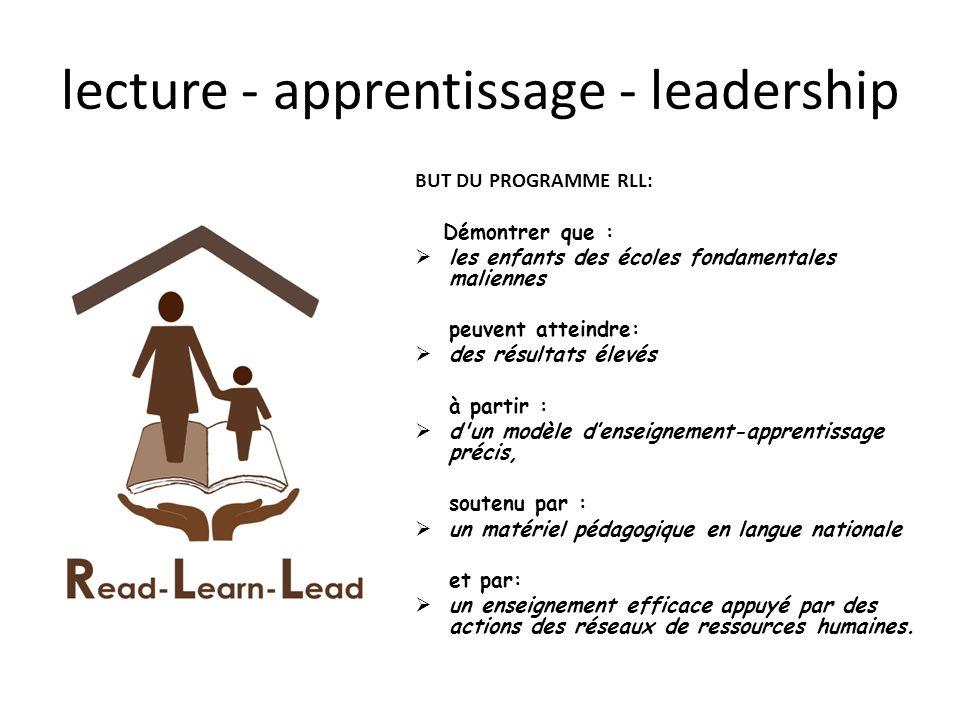 lecture - apprentissage - leadership BUT DU PROGRAMME RLL: Démontrer que : les enfants des écoles fondamentales maliennes peuvent atteindre: des résul