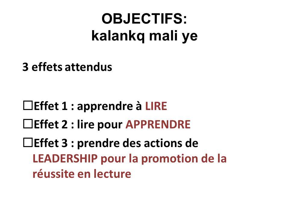 OBJECTIFS: kalankq mali ye Effet 1 : apprendre à LIRE Effet 2 : lire pour APPRENDRE Effet 3 : prendre des actions de LEADERSHIP pour la promotion de l