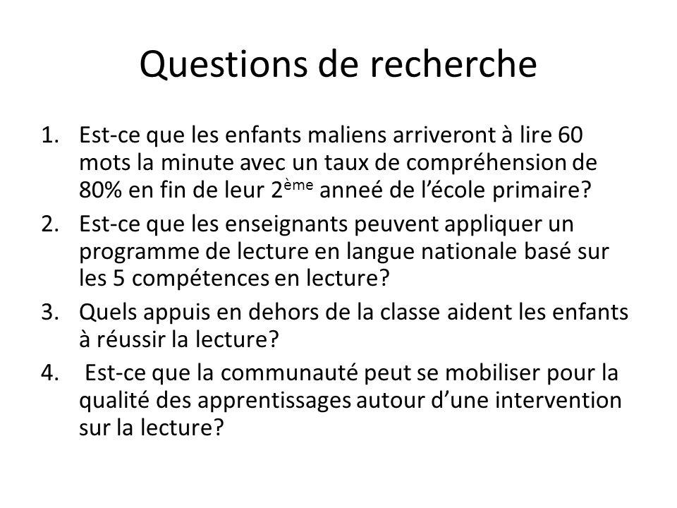 Questions de recherche 1.Est-ce que les enfants maliens arriveront à lire 60 mots la minute avec un taux de compréhension de 80% en fin de leur 2 ème