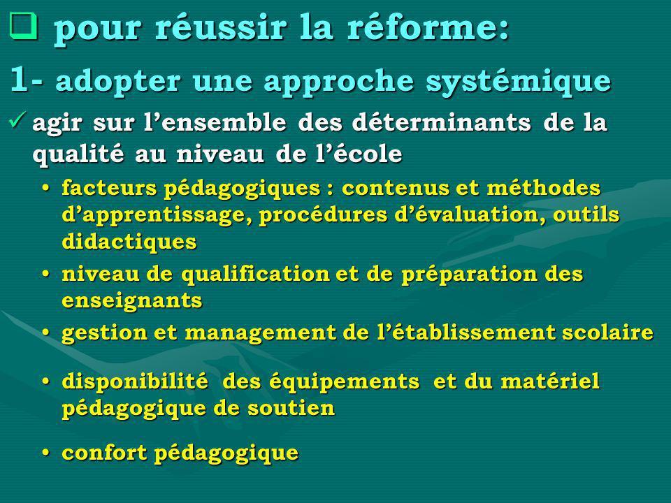 pour réussir la réforme: pour réussir la réforme: 1- adopter une approche systémique agir sur lensemble des déterminants de la qualité au niveau de lé