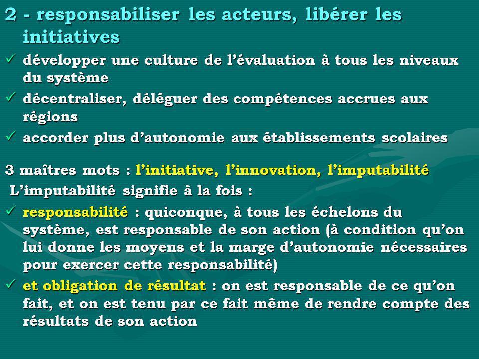 2 - responsabiliser les acteurs, libérer les initiatives développer une culture de lévaluation à tous les niveaux du système développer une culture de