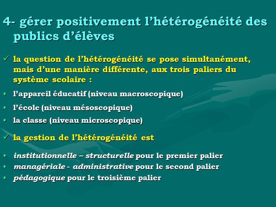 4- gérer positivement lhétérogénéité des publics délèves la question de lhétérogénéité se pose simultanément, mais dune manière différente, aux trois