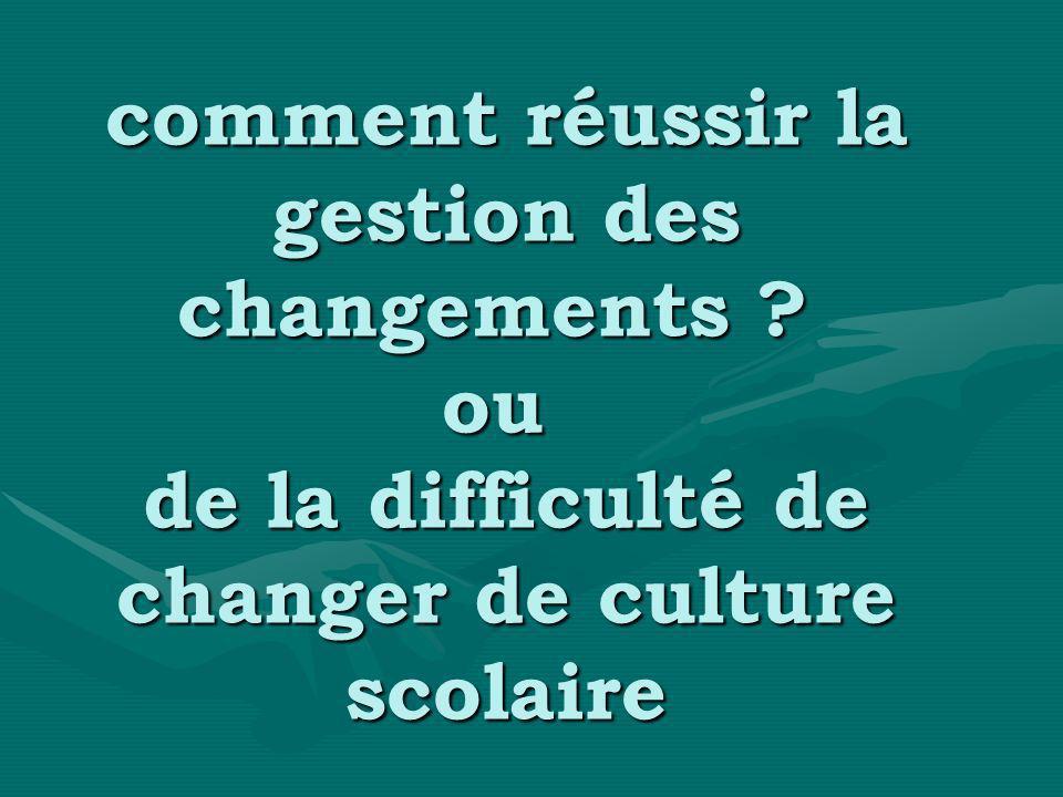 comment réussir la gestion des changements ? ou de la difficulté de changer de culture scolaire