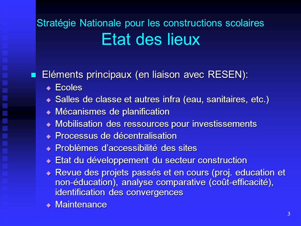 3 Stratégie Nationale pour les constructions scolaires Etat des lieux Eléments principaux (en liaison avec RESEN): Eléments principaux (en liaison ave